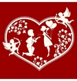 Heart with boy and girl inside vector image