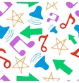 Hand drawn pattern with music elements vector image