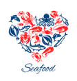 seafood fish food heart poster vector image vector image