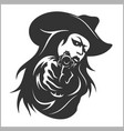 Western girl with revolver vector image