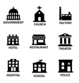 black government building icons set vector image vector image