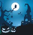 Blue halloween background vector image