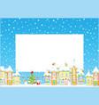 christmas border with a toy town vector image