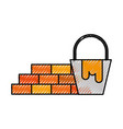construction wall brick and bucket paint color vector image