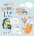 cute animals with their cubs vector image