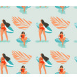 hand drawn abstract summer time seamless vector image