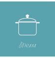 Menu cover with contour saucepan Flat design style vector image
