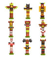 traditional religious totem poles set native vector image