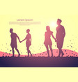 two silhouette couple man and woman walk holding vector image