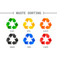 waste sorting segregation different colored vector image