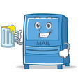 with juice mailbox character cartoon style vector image