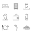 Hotel accommodation icons set outline style vector image