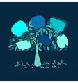 Vintage bubble speech tree vector image