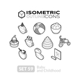 Isometric outline icons set 59 vector image