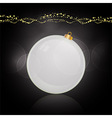 White bauble and decoration over black vector image