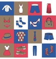 Clothes icons set flat line vector image