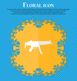 machine gun Floral flat design on a blue abstract vector image