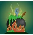 witches cauldron with potion vector image