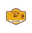 Trout Jumping Fly Fisherman Crest Retro vector image vector image