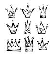 set of 9 black and white sketch drawing princess vector image vector image