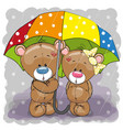 two cute cartoon bears with umbrella vector image
