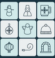set of 9 holiday icons includes knitted cap vector image
