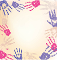 decorative frame made from print human hands vector image vector image