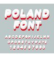 Poland font Polish flag on letters National vector image