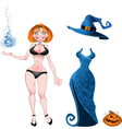 Witch with evening dress and pumpkin vector image