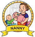 Funny mother or nanny with children Emblem vector image