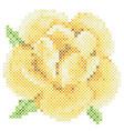 Cross stitch yellow rose vector image