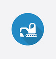 excavator Flat Blue Simple Icon with long shadow vector image