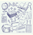 freehand drawing school items on a sheet of vector image