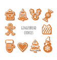 gingerbread cookies set christmas decorative vector image