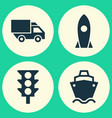 shipment icons set collection of van stoplight vector image