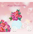 valentines day card peony flowers heart shape vector image