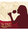 woman with wine glass vector image vector image