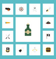 Flat icons chest sword pirate and other vector image