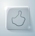 thumb up Glass square icon with highlights vector image