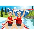 Two young men in a raft boat crossing finish vector image