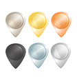Set of tags on the map of gold platinum silver vector image