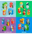 Vending Games Machines Isometric Icons Square vector image
