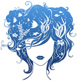 Girl with underwater life in hair vector image