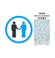 Persons Agreement Rounded Icon with 1000 Bonus vector image