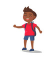 smiling kid in t-shirt jeans shorts with rucksack vector image