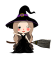 Witch with Hat Flying on Broom vector image