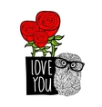 Smart owl in love cover print vector image
