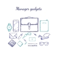Manager Accessories Sketch Set vector image