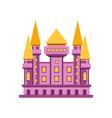 purple fairytale royal castle or palace building vector image vector image
