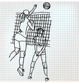 Girls playing volleyball sketch vector image